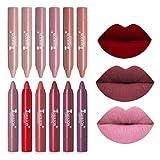 12 Colors Moisturizing Matte Lip Pencil Crayon, Matte Crayon Lipstick Set, Waterproof Long Lasting Velvet Lipstick Crayons for Women