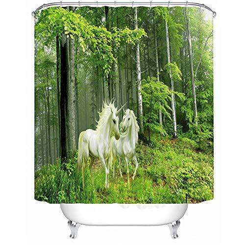 Feidaeu Cortina de Ducha 3D Impermeable Extra Largo Bosque Patrón Unicornio Decoración del hogar Baño de poliéster Cortina de baño