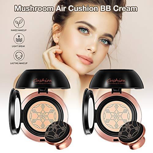 Air Cushion Cream BB Mushroom Head Foundation Liquid Foundation Corrector Desnudo Maquillaje Hidratante Duradero Para Reducir Los Poros, Ocultar Manchas, Iluminar El Tono De La Piel - Natural / Lovry