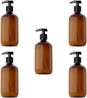 Solustre 5pcs Shampoo Pump Bottle Empty Plastic Bottles 300ml Travel Size Refillable Container for Home Travel Trip (Brown)