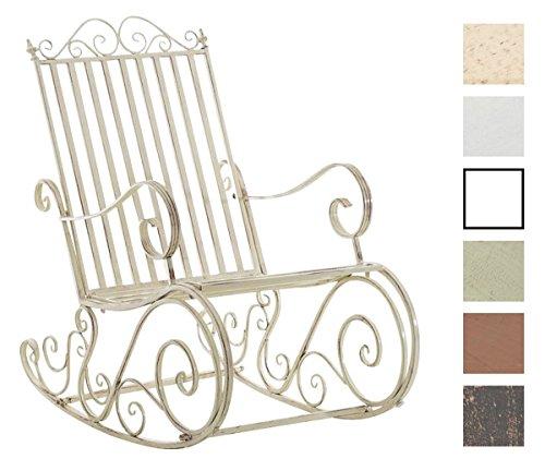 CLP Eisen-Schaukelstuhl SMILLA im Landhausstil I Schwingstuhl mit hoher Rückenlehne I erhältlich, Farbe:antik-Creme
