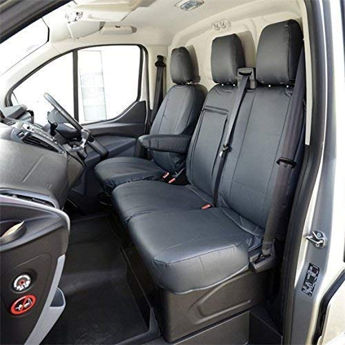 UK Custom Covers SC161 Tailored Leatherette Front Seat Covers - Black