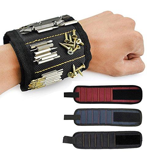 Pawaca Bracelet Magnétique, 5 Puissants Aimants Forts Magnet Arm Band pour Les Vis de Maintien, Clous, Trépans de Forage - Best Tool Cadeau pour Bricoleur Handyman, Hommes, Femmes (Divers)