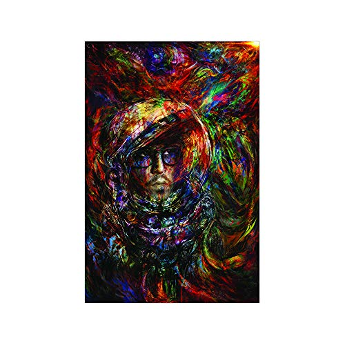100Yellow® Neon Trippy Smoking Weed Poster (Paper, Multicolour, 12X18 Inch)