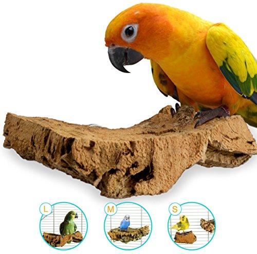 Mr. Petz Korksitzbrett ALLE GRÖSSEN - 100% Bio Vogel Zubehör Käfigausstattung - Perfektes Vogelspielzeug in der Vogelvoliere für Wellensittich, Nymphensittich, Papagei - Vogel Sitzbrett - Pickstein