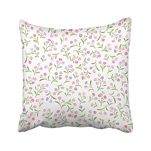Moily Fayshow Throw Cushion Cover Pink Carnation Floral Pattern Flower Flourish Ornamental Spring Garden Watercolor Summer Bloom 50X50 Cm