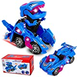 M SANMERSEN Transforming Dinosaur Toys, Transforming Dinosaur Cars with LED Light Music Automatic Deformation Dino Car for 3+ Year Old Kids Boys Girls Holiday Birthday Gifts (Blue)