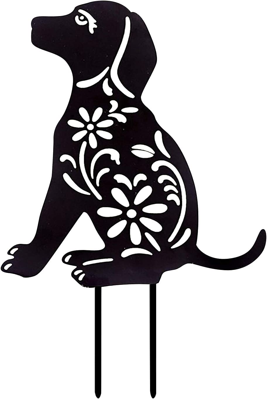 FASESH Silhouette Black Dog Metal Animal Yard Stake, Garden Decor Dog Kitten Shadow Stakes, Outdoor Wrought Iron Dog and Butterfly Style Plug-in Garden Yard Patio Decoration Ornaments