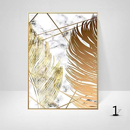 WSNDGWS Sofa achtergrond muurdecoratie schilderij licht eenvoudige plant gouden blad kunst schilderen kern zonder fotolijst 40x50cm A3