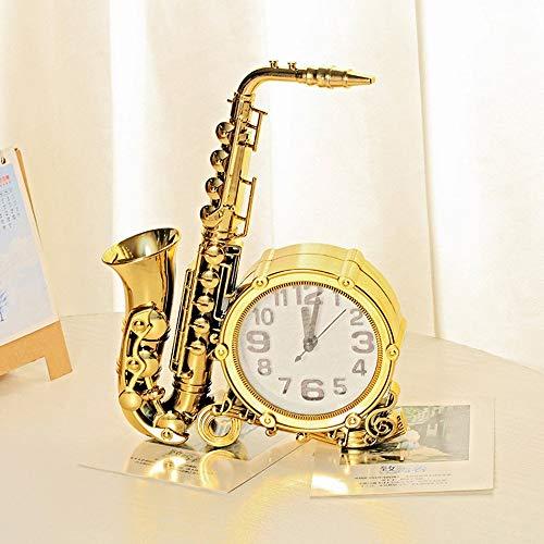 ZXL Home Decor Saxofoon Modeling Alarm Klok Digitale Klok Nummer Seat Ronde Alarm Klok Bureau Kinderen, Goud