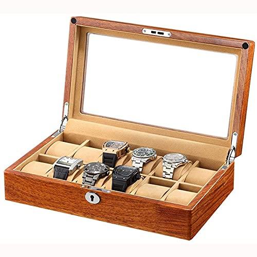 SMOOTHLY Caja de reparación de Madera Reloj de Madera Reloj de Reloj, Caja de Almacenamiento con Gran Compartimento, Ventana de Vidrio con Comida de Franela, Regalos Opcionales (2 Piezas)