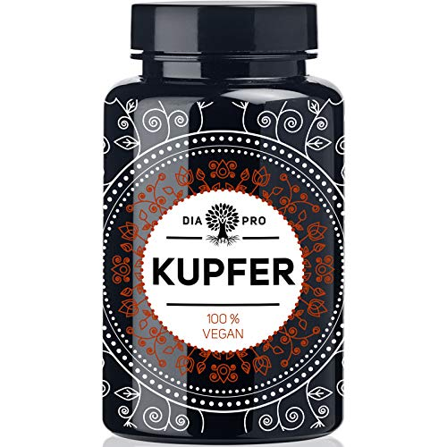 DiaPro® Kupfer 365 Hochdosierte Kupfer-Tabletten mit 2 mg Kupfer pro Tablette aus Kupfer-Gluconat 365 Stück Jahresvorrat 100% Vegan Laborgeprüft Hergestellt in Deutschland