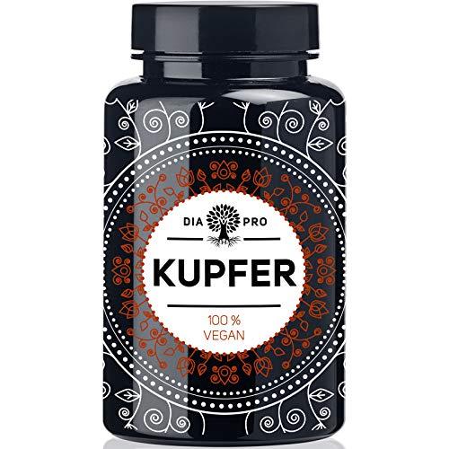 DiaPro® Kupfer 365 Hochdosierte Kupfer-Tabletten mit 2 mg Kupfer pro Tablette aus Kupfer-Gluconat 365 Stück Jahresvorrat 100{0ff026056b14bf6ec5c5ed710723f6daf7c35608ad49cd25f571e1d57a68169d} Vegan Laborgeprüft Hergestellt in Deutschland