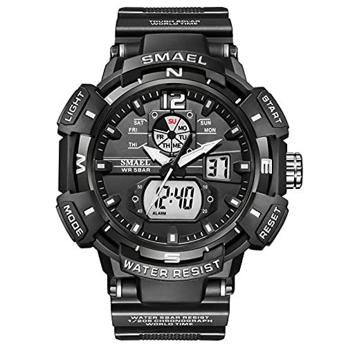 QZPM Relojes Deportivos para Hombre, Multifunción Impermeable Pantalla Deportiva Retroiluminación Relojes Digitales Analógico para Hombre,Negro