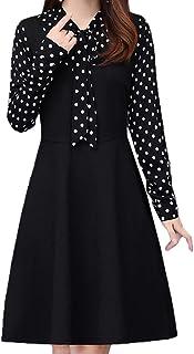[CAIXINGYI]女性の服 秋 冬 長袖 ロングスリーブ ボトムアップ ドレス 気質 L-5XL 大きなサイズ スカート 通勤 ビジネス