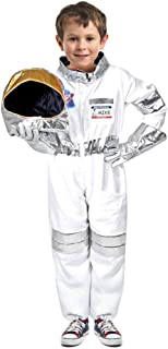 Children`s Astronauts Costume Space Pretend Dress up Role Play Set for Kids Boys Girls with a Free America Flag Pin White