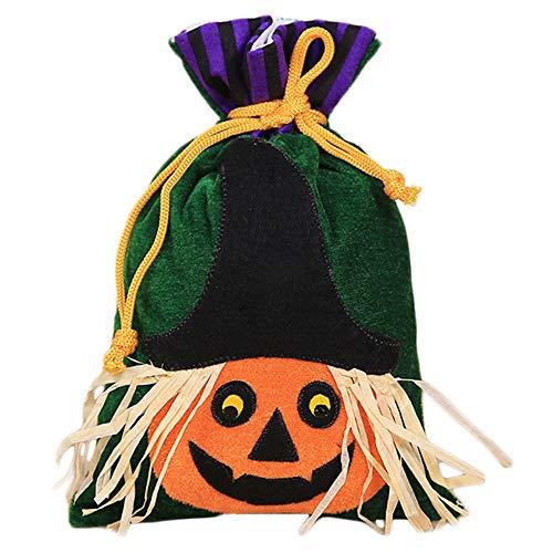 1 bolsa de regalo con cordón para niños o niñas, con diseño de calabaza, 27 x 15 cm, con texto en inglés'Trick or Treat', tela, Pumpkin Pattern, 27x15cm