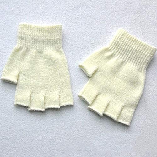 New Unisex Hot Men Women Knitted Stretch Elastic Warm Half Finger Fingerless Gloves for Winter - (Color: White)