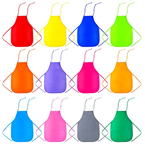 Caydo 12 Pieces 12 Colors Children's Artists Fabric Aprons for Kitchen, Classroom, Community Event, Crafts and Art Painting Activity
