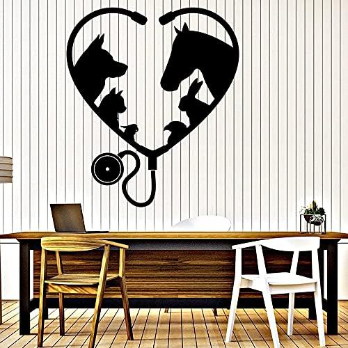 Calcomanía de pared de Hospital para mascotas, animales, amigos, mascotas, veterinaria, decoración de interiores, amor, estetoscopio, pegatina de vinilo para ventana, A3 57x66cm