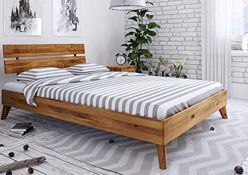 MASSIVMOEBEL24.DE Massivholzbett MALMÖ #12 Wildeiche massiv geölt 200x200x82 modern Natur skandinavischer Stil