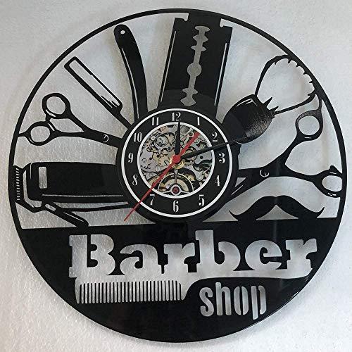 Barber Shop décoration d'intérieur salon de coiffure de vinyle horloge de coiffeur art déco murale,Black,12inches