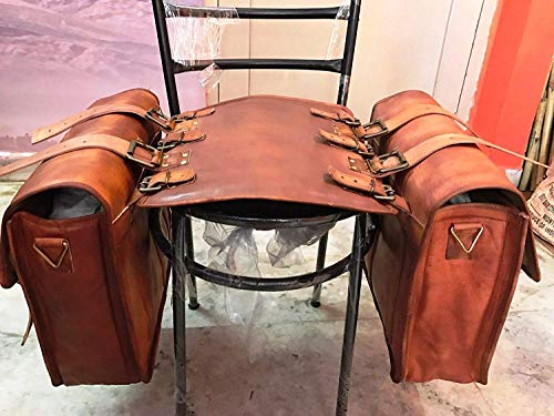 2 X Motorcycle Side Pouch Brown Leather Side Pouch Saddlebags Saddle Panniers (2 Bags)