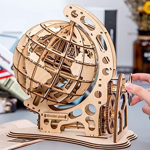 Roeam Bausteine, Globus 3D Holzpuzzle, DIY Montage Holzhandwerk, Mechanische Übertragung Modell, Geschenk für Kinder Erwachsene