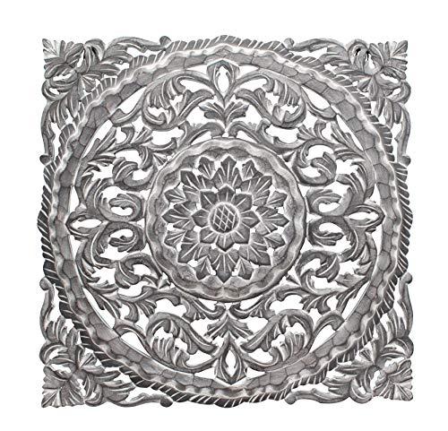 DARO DEKO Holz Wand-Bild Ornamente eckig dunkel-grau 60cm x 60cm