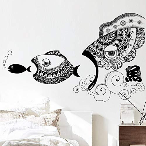 YUAHNG Arte Pintado a Mano Peces decoración de la Pared Pegatinas de Pared Creativas Pegatinas de Pared Pared de Fondo