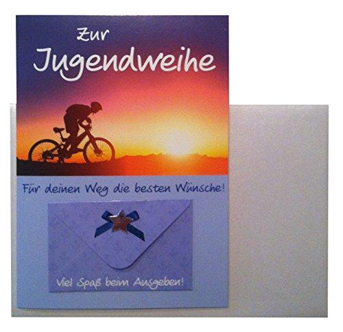 Depesche Glückwunschkarte Jugendweihe Karte Geldgeschenk Grußkarte Sonnenuntergang Radfahrer