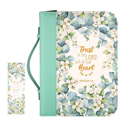 """Bible Cover Case for Women with a Matched Bookmark Floral PU Leather Bible Cover Bag with Pockets and Zipper for Standard and Large Size Study Bible 10.5""""x8""""x2.5"""", Jasmine Leaves"""