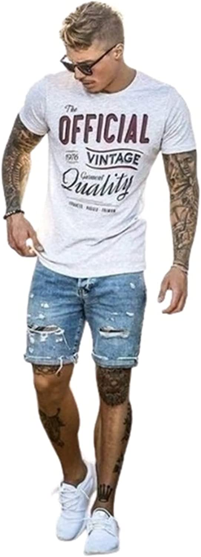 Men's Casual Knee Length Jeans Summer Slim Distressed Vintage Ripped Denim Shorts Fit Destroyed Hole Jean Short Pants