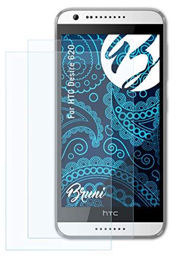 Bruni Schutzfolie kompatibel mit HTC Desire 620 Folie, glasklare Bildschirmschutzfolie (2X)
