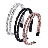 3 Piezas Diademas de Diamante de Imitación, Diademas de Moda de Cristal Brillante, Diadema Retro Sencillo, para Accesorios de Pelo Mujer Niña, 3 Colores (A)