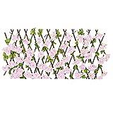 Retráctil enrejado Valla Valla La expansión de detección con luz artificial rosa hojas de cerezo para la decoración del patio trasero, Garland Artificial follaje