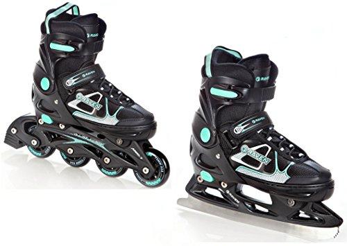 RAVEN 2in1 Schlittschuhe Inline Skates Inliner Spirit Black/Mint verstellbar Größe: 37-40 (23,5cm-26cm)