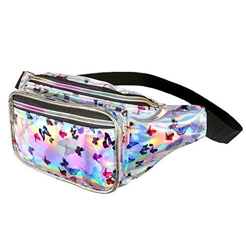 CHIC DIARY Unisex Elektrische Silbe Bauchtasche Hüfttasche Gürteltasche Umhängetaschen für Damen und Herren aus Reflektierender PU Wasserdicht (Silber Schmetterling)