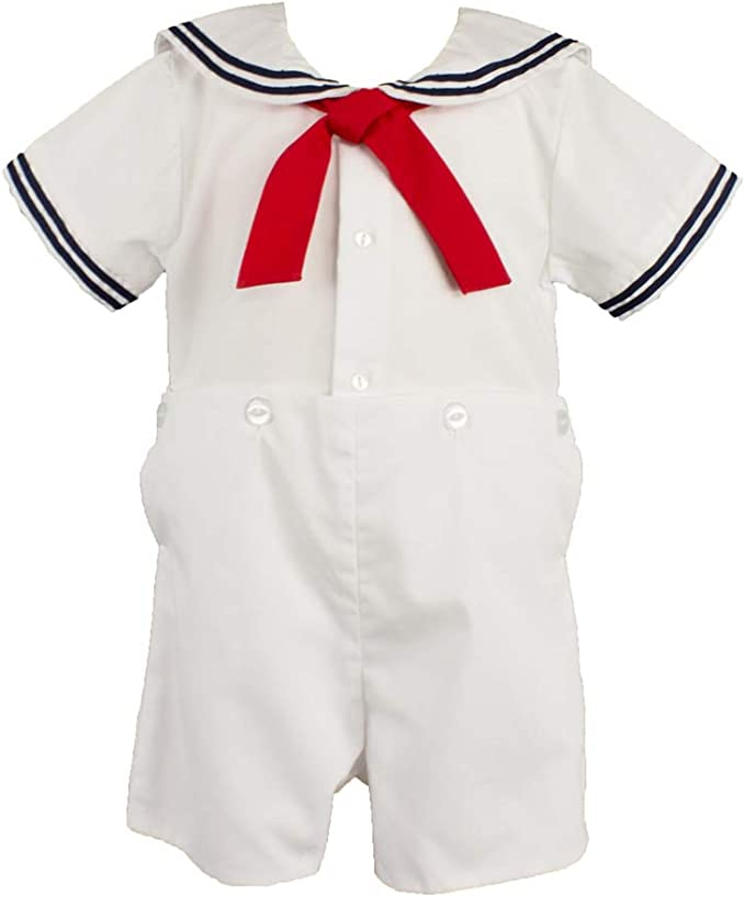 Kids 1950s Clothing & Costumes: Girls, Boys, Toddlers Petit Ami Baby Boys' 2 Piece Nautical Bobby Suit with Collar  AT vintagedancer.com