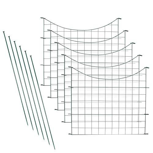 wolketon Teichzaun Set Gartenzaun Gitterzaun mit 5 Zaunelementen & 6 Befestigungsstäben Zaun Teich Metall Rostfrei Komplett-Set Freigehege mobiler (11tlg Set Unterbogen,Grün)