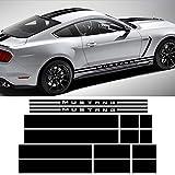 DSYCAR 1Set Capó del Coche Techo del Motor Rayas Laterales traseras Etiqueta engomada del Coche Body Kit Decal Decoración para Ford Mustang 2015-2017 (Negro)