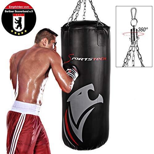 Sportstech Doppelverstärkter Kampfsport Boxsack mit 40cm Durchmesser & Innovative Fünfpunkte-Stahlke (120x40cm)