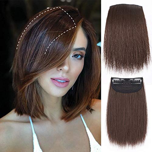 LNERATO Clips in Hairpieces Brown Short Straight Hair Piece for Women Invisible Hairpin Hair for Adding Hair Volume Fluffy Natural Cushion High Hair 6Inches