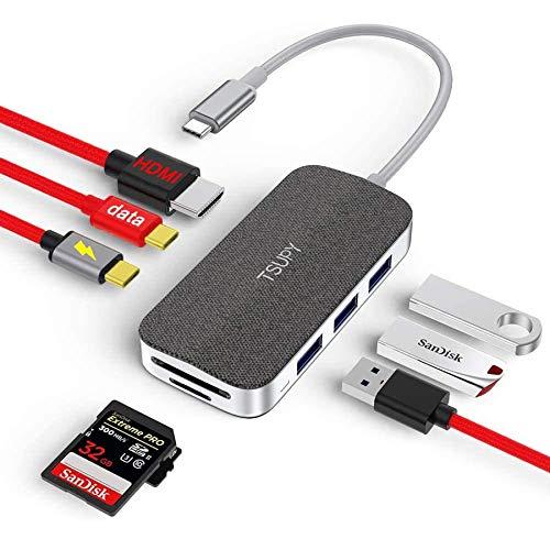 TSUPY HUB USB C Data 8 en 1 Dock USB C 100W Power Delivery Carga,Adaptador Tipo C y HDMI 4k, 3 Puertos USB 3.0,Lectores de Tarjetas SD/Micro SD Compatibles con MacBook,DELL,Lenovo,Samsung,Huawei y más