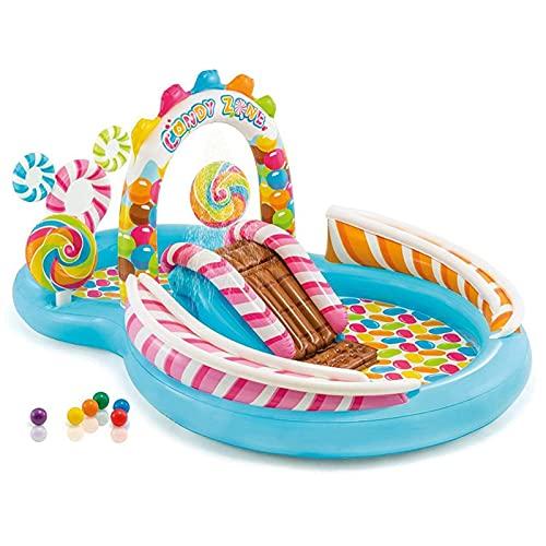 HRRF Piscina Inflable de SVUZU, paraíso de Caramelo, Piscina Grande para niños con jardín de jardín, PVC Piscina Plegable portátil, 295x191x130cm