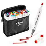 Fabric Markers Permanent 36 Colors of Ohuhu Dual Tip Fabric Paint Marker Pens for DIY Christmas Costumes, T-Shirt, Clothes, Shoes, Bags Water-Based Valentine's Day Back to School Gifts