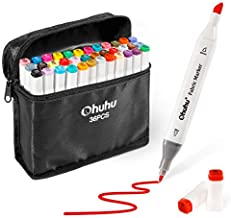 Fabric Markers Permanent 36 Colors of Ohuhu Dual Tip Fabric Paint Marker Pens for DIY Christmas Costumes, T-Shirt, Clothes, Shoes, Bags Water-Based Back to School Gifts
