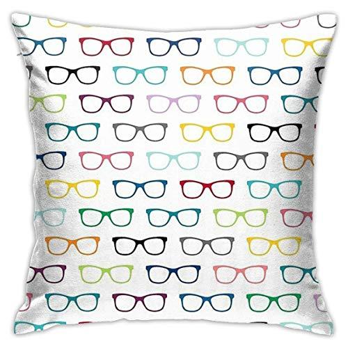 Pengyou Funda de Almohada Cuadrada Soft fit Hipster Glasses Geek Pattern Decoración del hogar del Coche del Dormitorio del sofá 45x45cm