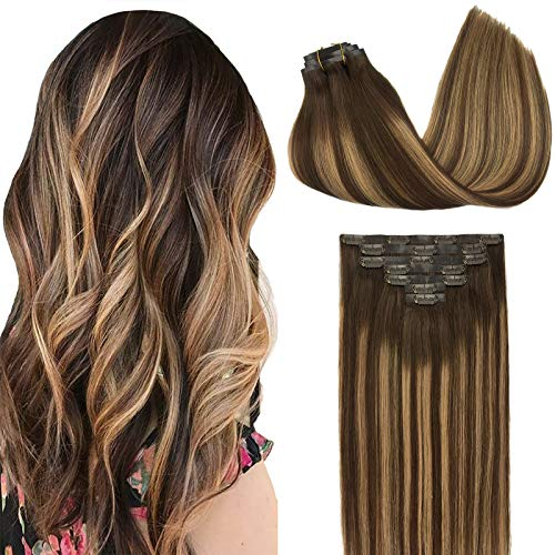 GOO GOO PU Clip in Hair Extensions Human Hair 18 Inch Balayage Chocolate Brown to Caramel Blonde Hair Extensions 130g 7pcs Seamless Hair Extensions Clip in PU Weft Real Natural Hair