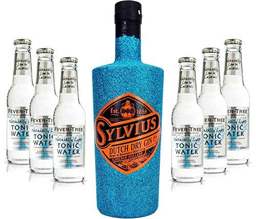 Gin Tonic Bling Bling Blau Glitzer Set Geschenkset - Sylvius Dutch Gin 0,7l 700ml (45% Vol) + 6x Fever Tree Naturally Lighht Tonic Water 200ml inkl. Pfand MEHRWEG -[Enthält Sulfite]